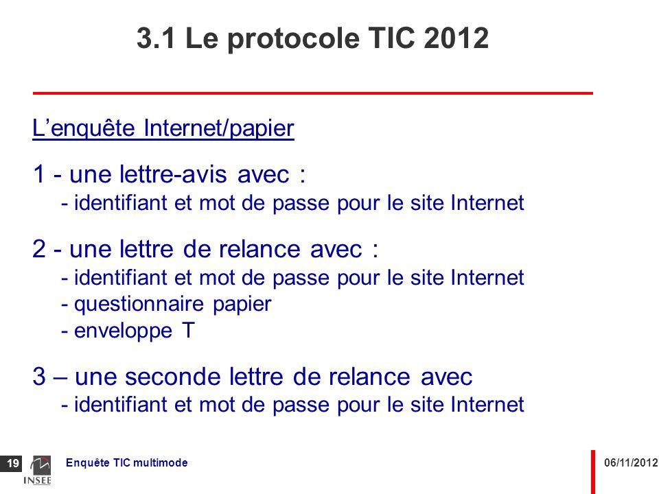 3.1 Le protocole TIC 2012 1 - une lettre-avis avec :