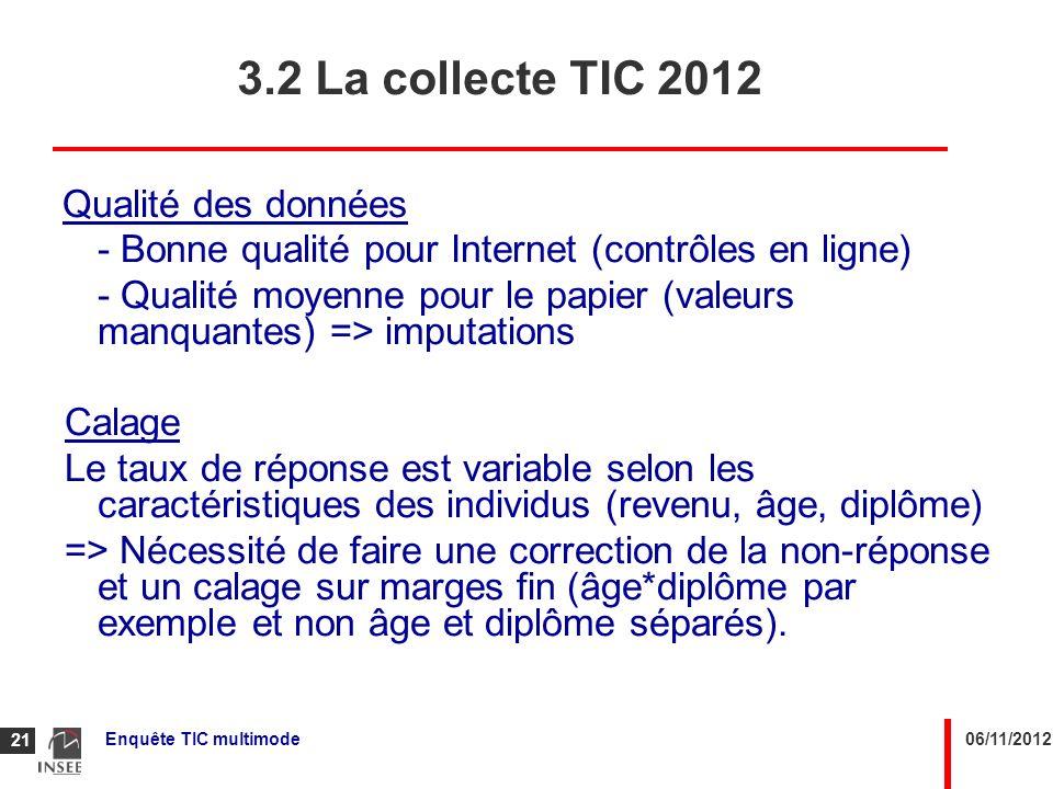 3.2 La collecte TIC 2012 Qualité des données