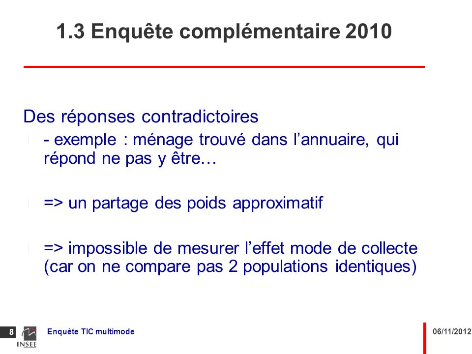 1.3 Enquête complémentaire 2010