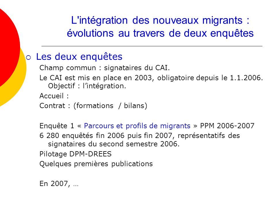 L intégration des nouveaux migrants : évolutions au travers de deux enquêtes