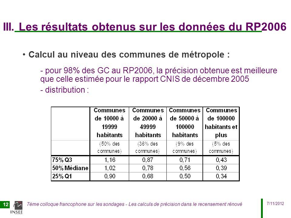 III. Les résultats obtenus sur les données du RP2006
