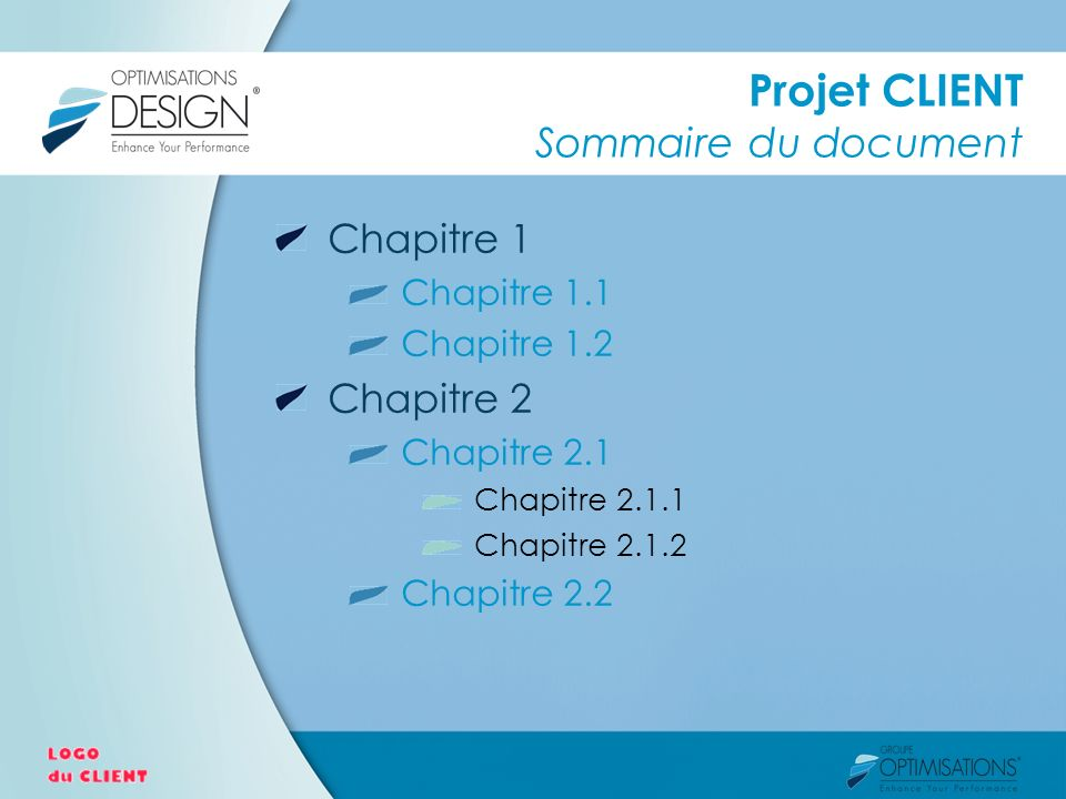 Projet CLIENT Sommaire du document