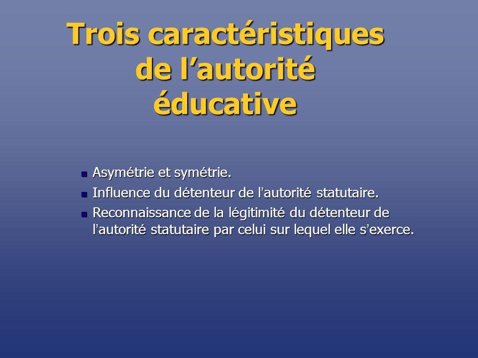 Trois caractéristiques de l'autorité éducative