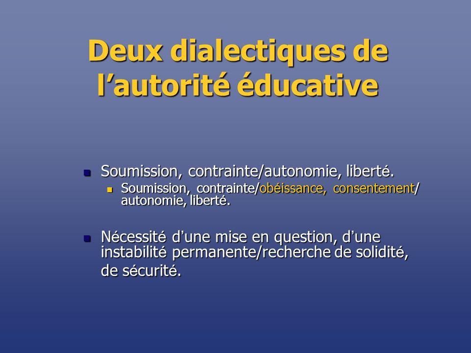 Deux dialectiques de l'autorité éducative