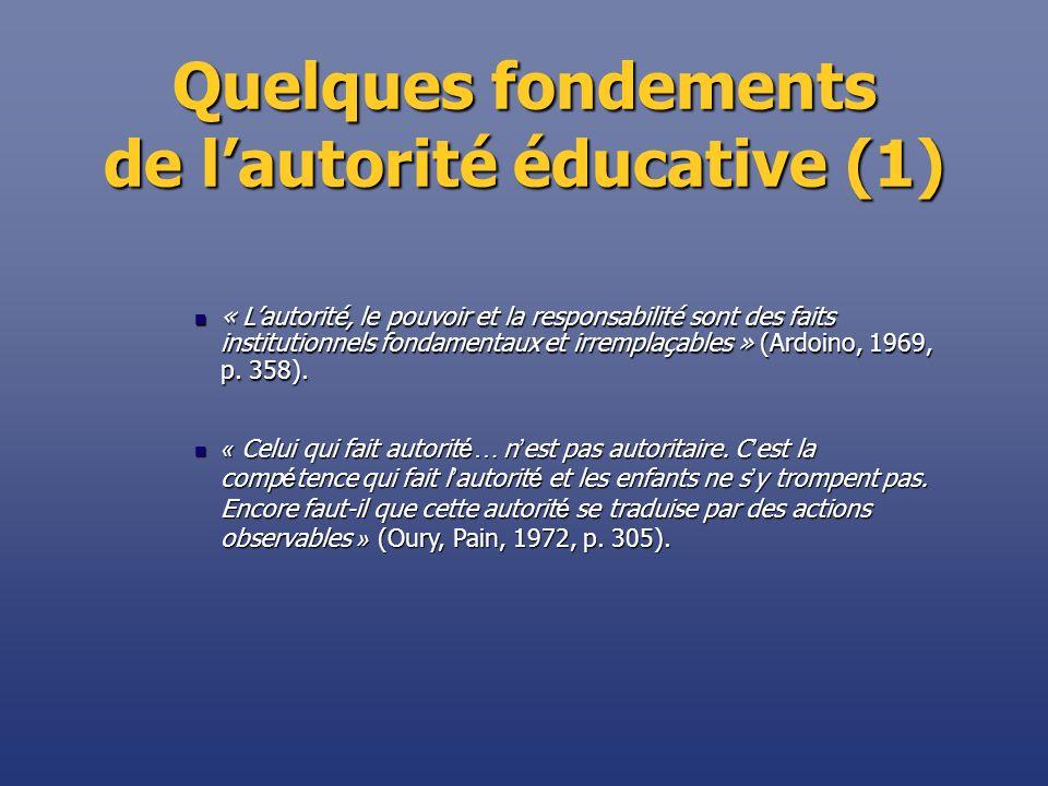 Quelques fondements de l'autorité éducative (1)