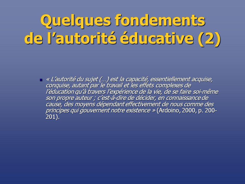 Quelques fondements de l'autorité éducative (2)