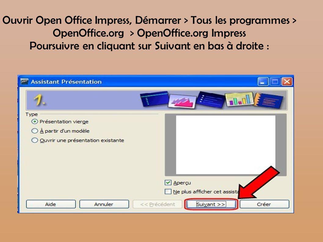 Ouvrir Open Office Impress, Démarrer > Tous les programmes > OpenOffice.org > OpenOffice.org Impress Poursuivre en cliquant sur Suivant en bas à droite :