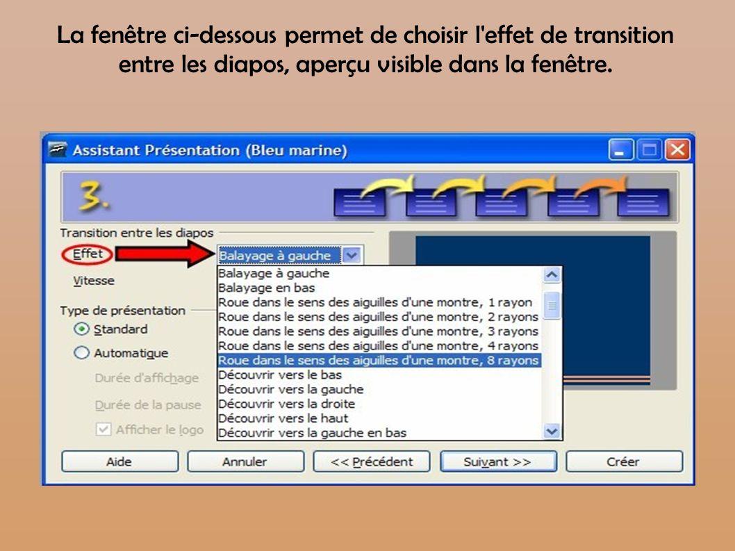 La fenêtre ci-dessous permet de choisir l effet de transition entre les diapos, aperçu visible dans la fenêtre.