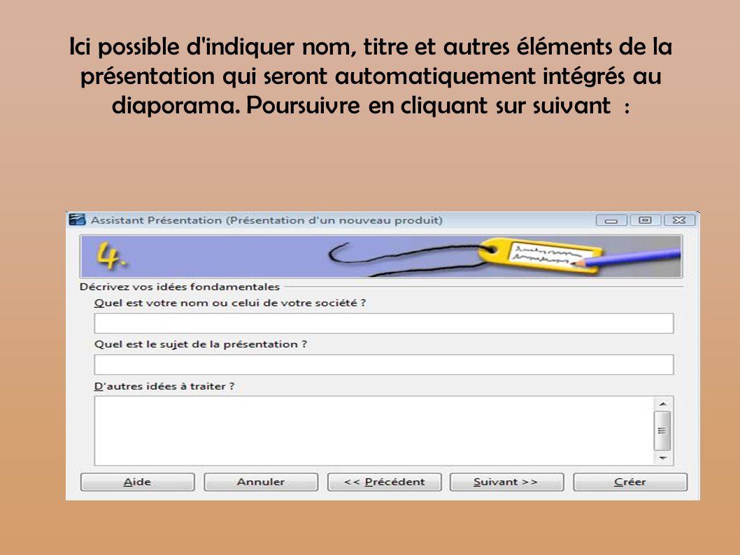Ici possible d indiquer nom, titre et autres éléments de la présentation qui seront automatiquement intégrés au diaporama.
