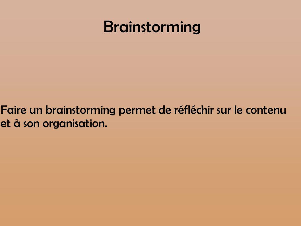 Brainstorming Faire un brainstorming permet de réfléchir sur le contenu et à son organisation.