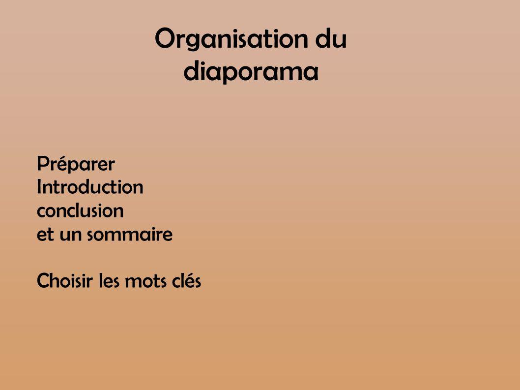 Organisation du diaporama