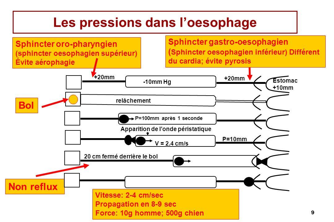 Les pressions dans l'oesophage