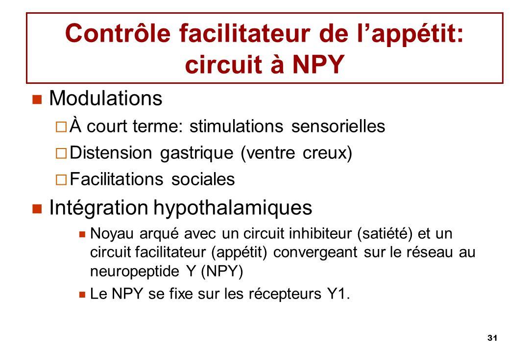 Contrôle facilitateur de l'appétit: circuit à NPY