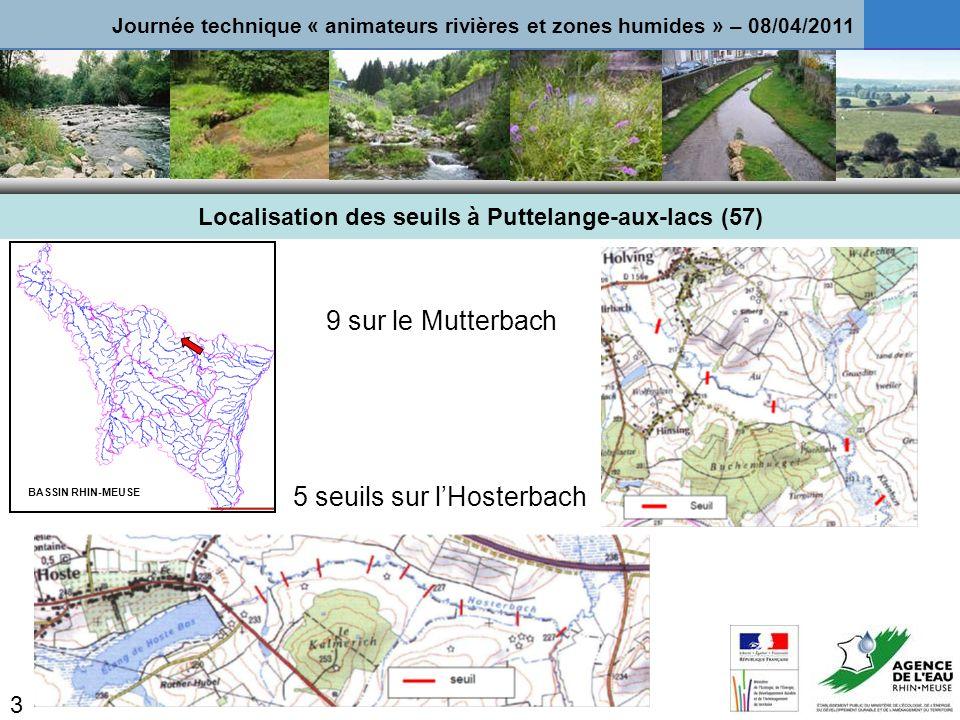 Localisation des seuils à Puttelange-aux-lacs (57)