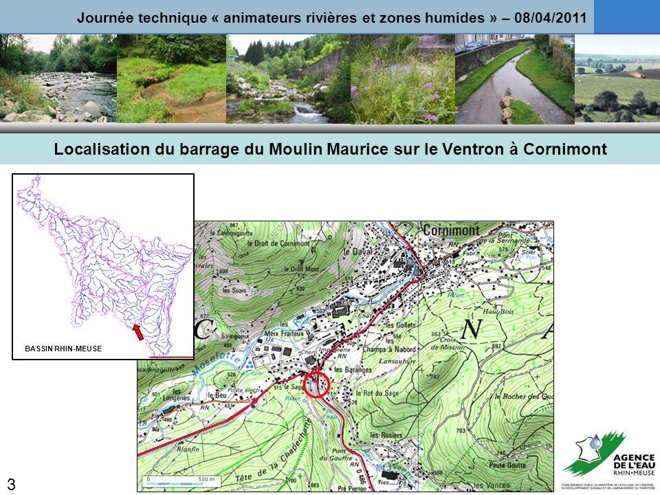 Localisation du barrage du Moulin Maurice sur le Ventron à Cornimont