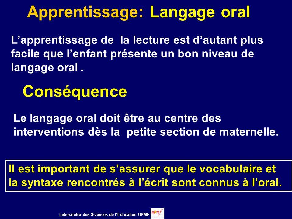 Apprentissage: Langage oral