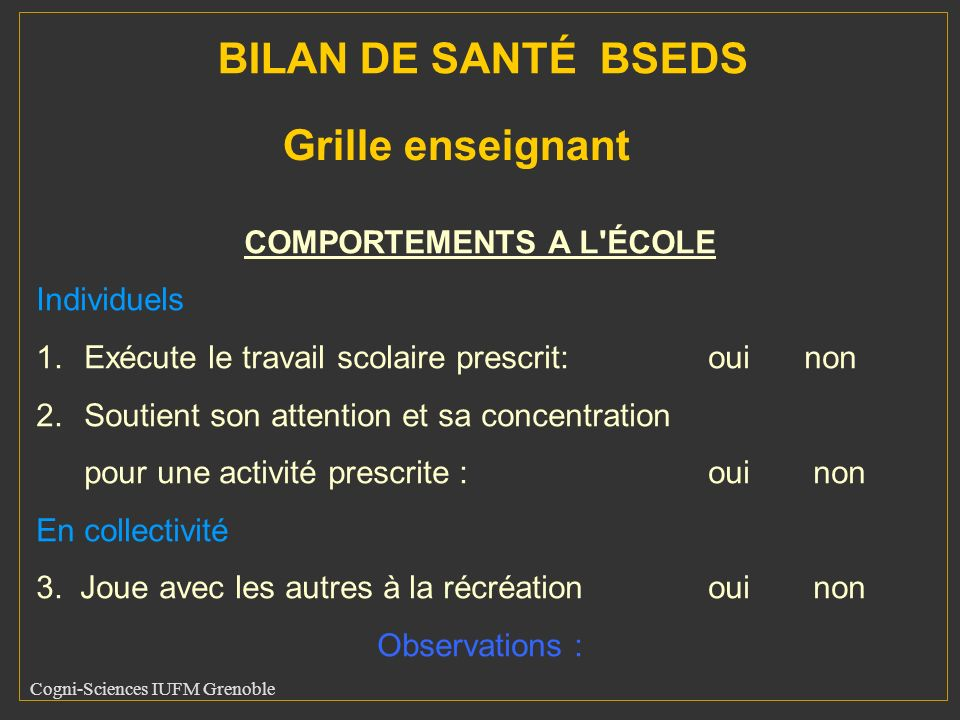 COMPORTEMENTS A L ÉCOLE