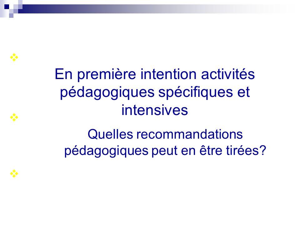 En première intention activités pédagogiques spécifiques et intensives