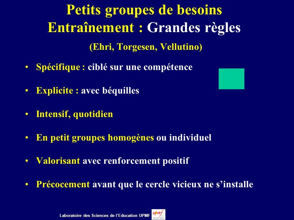 Petits groupes de besoins Entraînement : Grandes règles (Ehri, Torgesen, Vellutino)
