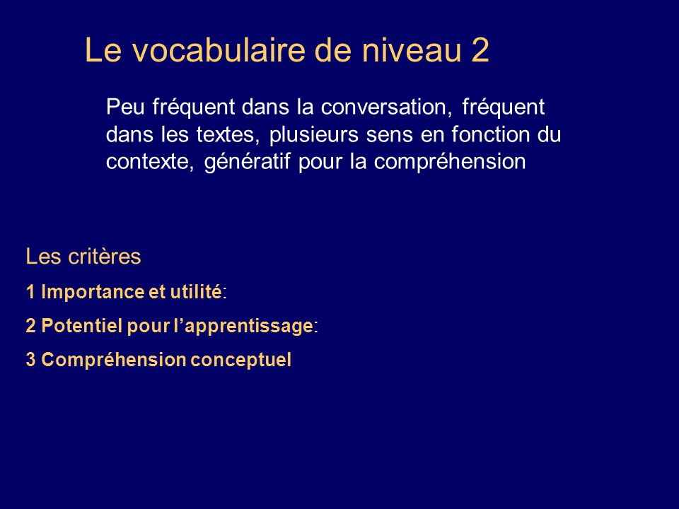 Le vocabulaire de niveau 2