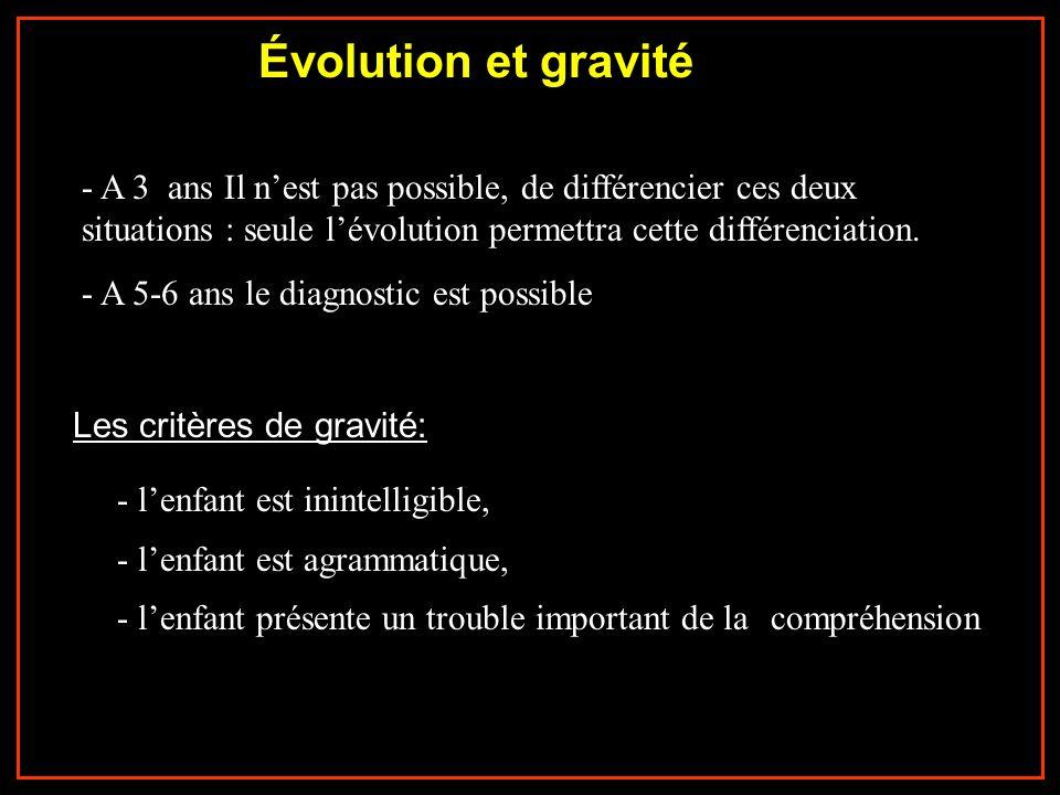 Évolution et gravité - A 3 ans Il n'est pas possible, de différencier ces deux situations : seule l'évolution permettra cette différenciation.