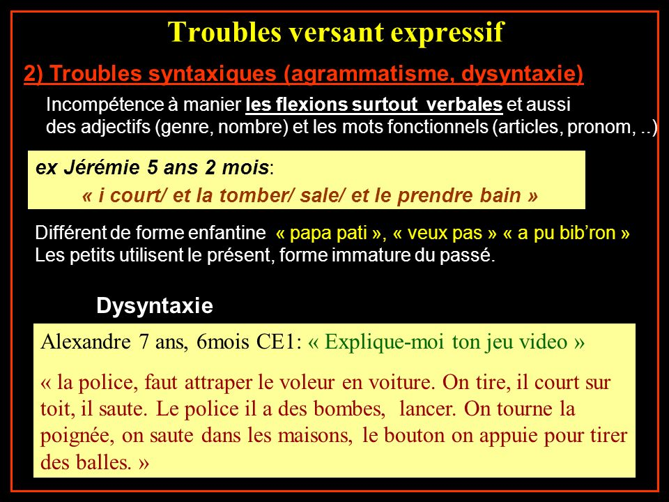 Troubles versant expressif