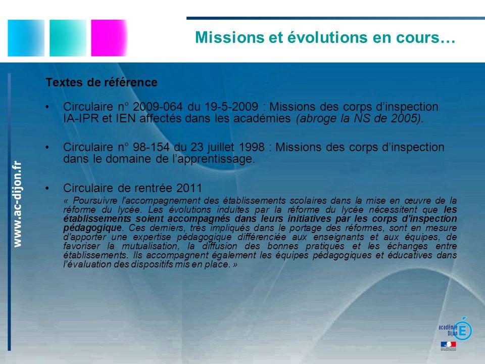 Missions et évolutions en cours…