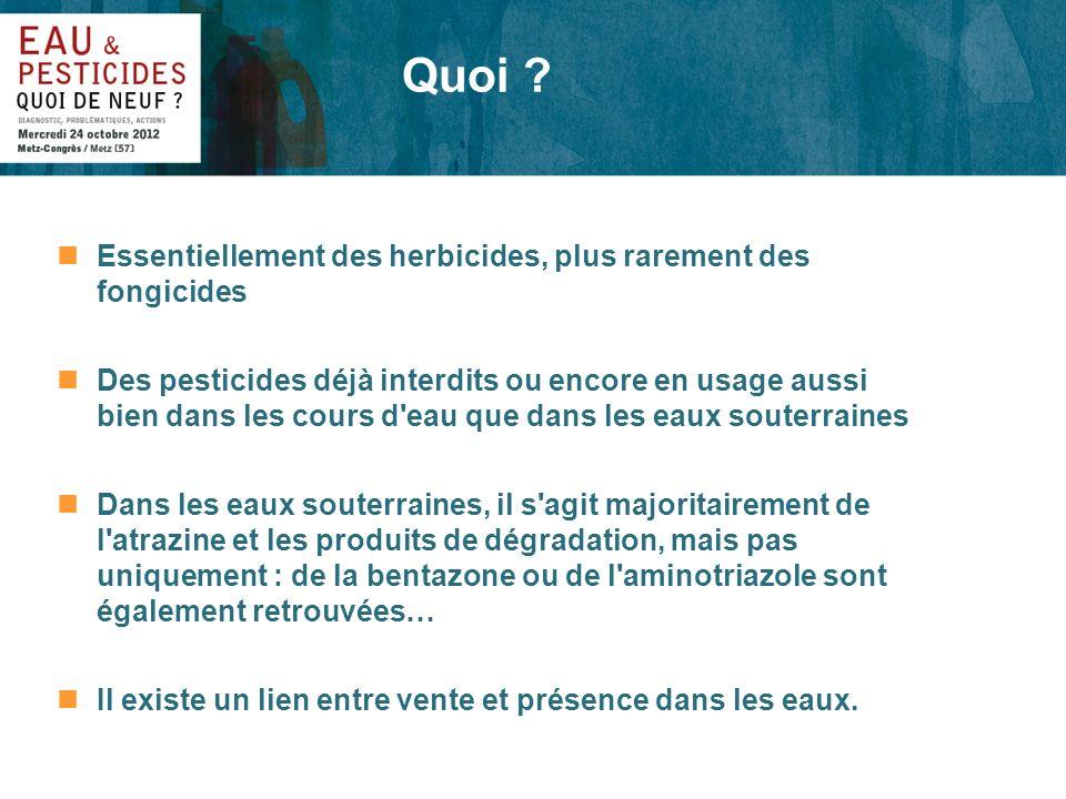 Quoi Essentiellement des herbicides, plus rarement des fongicides
