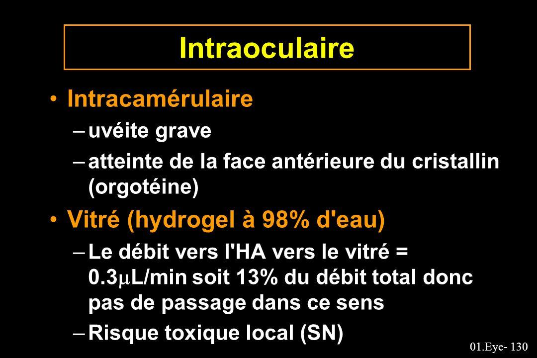 Intraoculaire Intracamérulaire Vitré (hydrogel à 98% d eau)