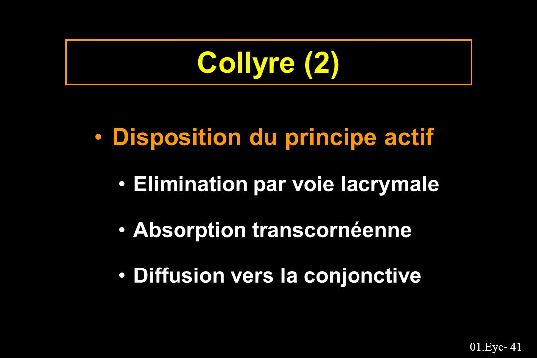 Collyre (2) Disposition du principe actif