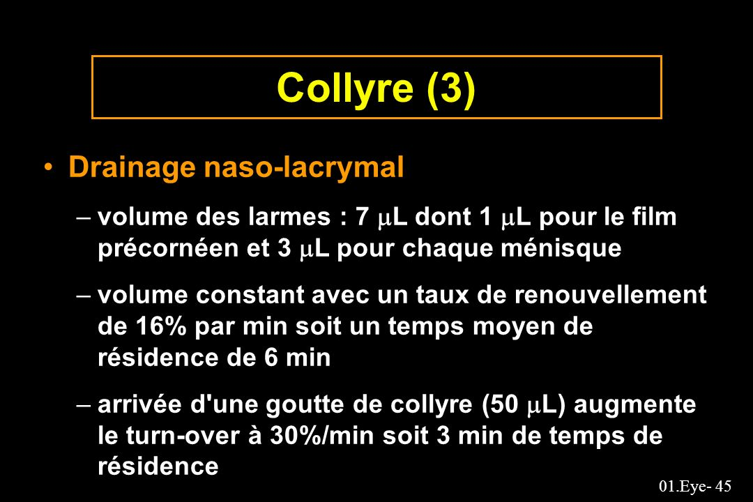 Collyre (3) Drainage naso-lacrymal