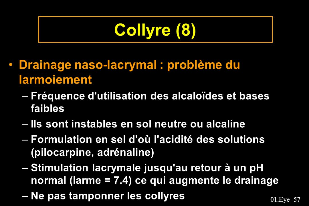 Collyre (8) Drainage naso-lacrymal : problème du larmoiement