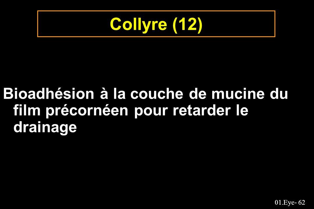 Collyre (12) Bioadhésion à la couche de mucine du film précornéen pour retarder le drainage