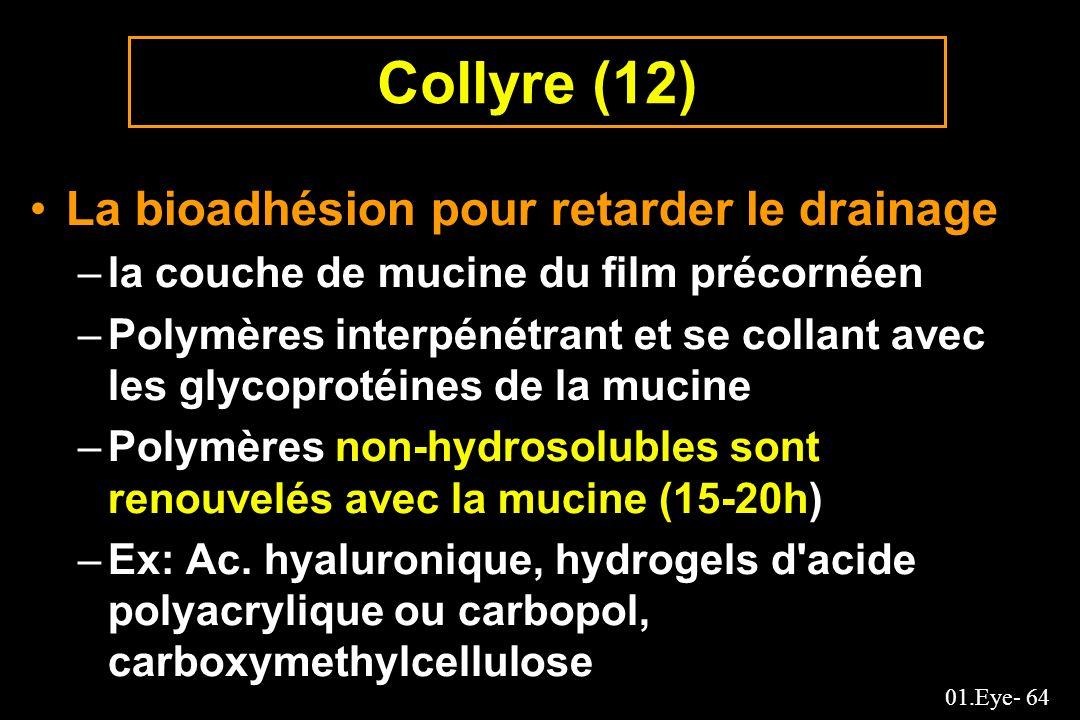 Collyre (12) La bioadhésion pour retarder le drainage