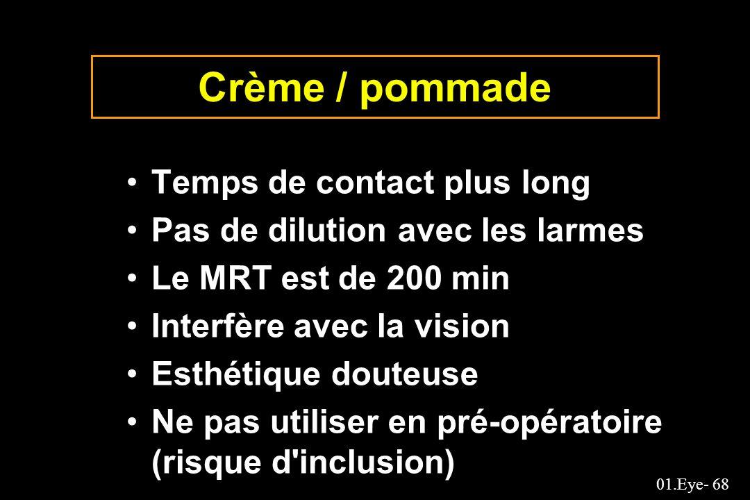 Crème / pommade Temps de contact plus long