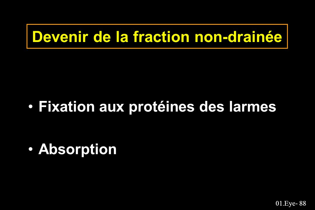 Devenir de la fraction non-drainée