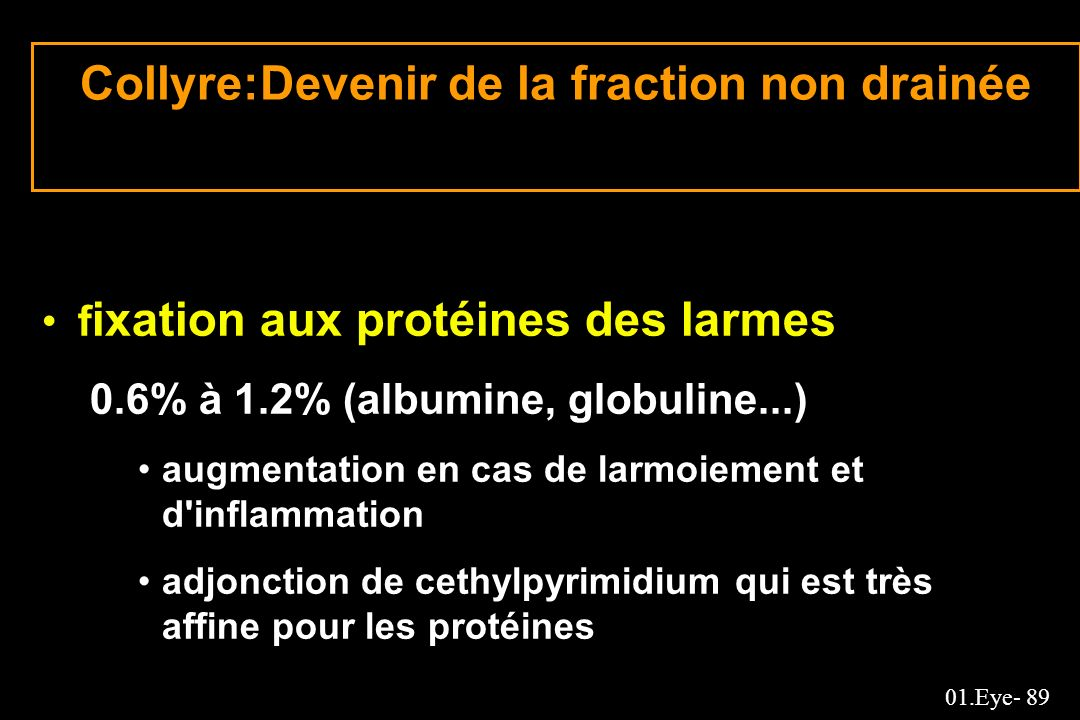 Collyre:Devenir de la fraction non drainée