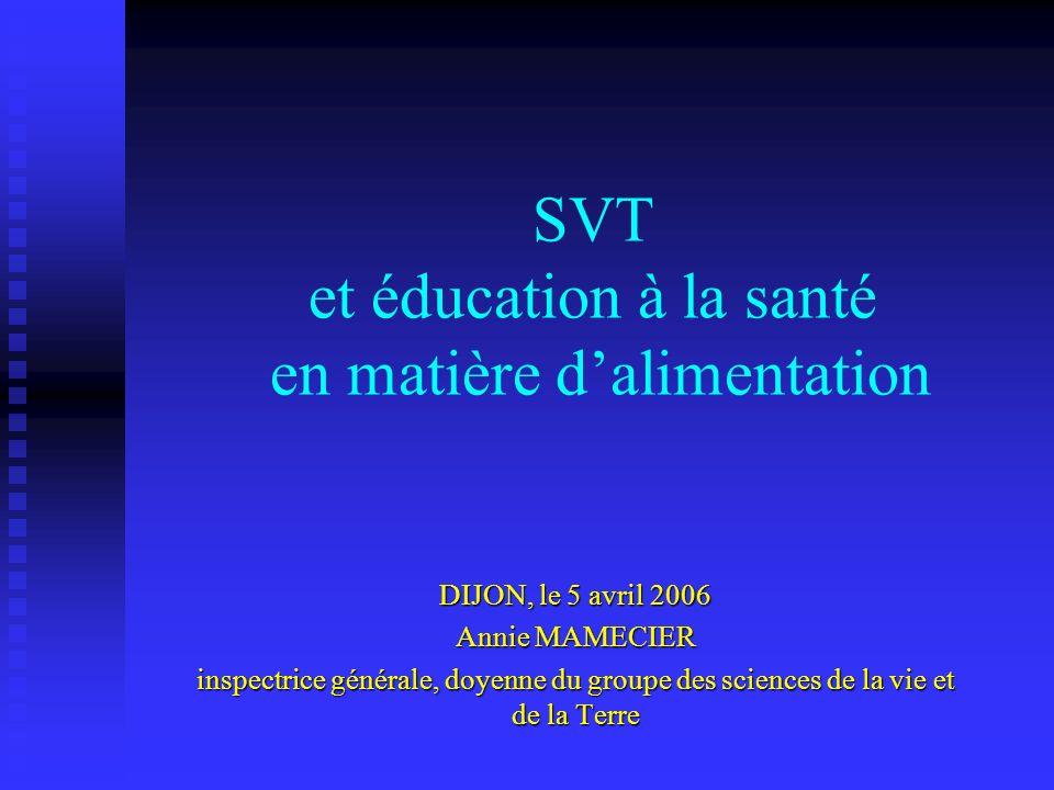 SVT et éducation à la santé en matière d'alimentation