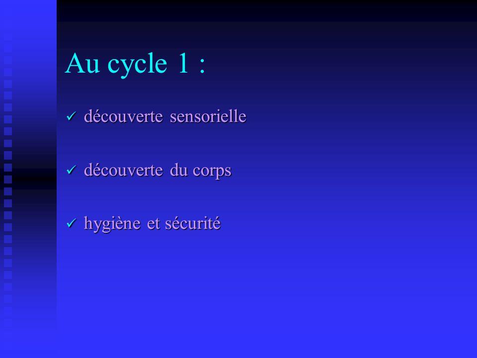 Au cycle 1 : découverte sensorielle découverte du corps