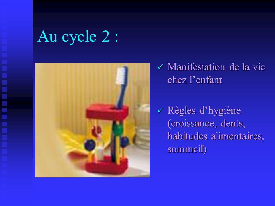 Au cycle 2 : Manifestation de la vie chez l'enfant