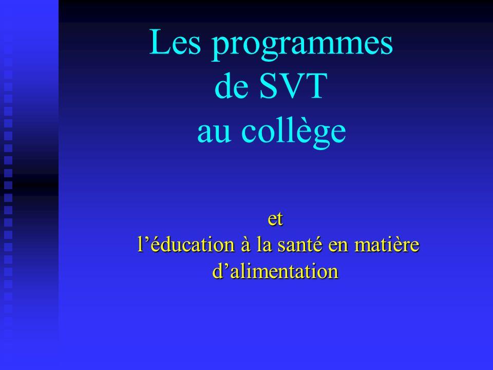 Les programmes de SVT au collège