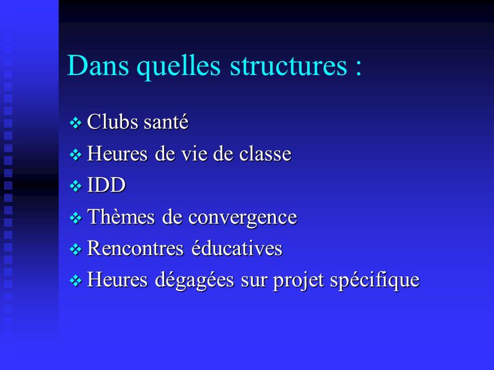 Dans quelles structures :