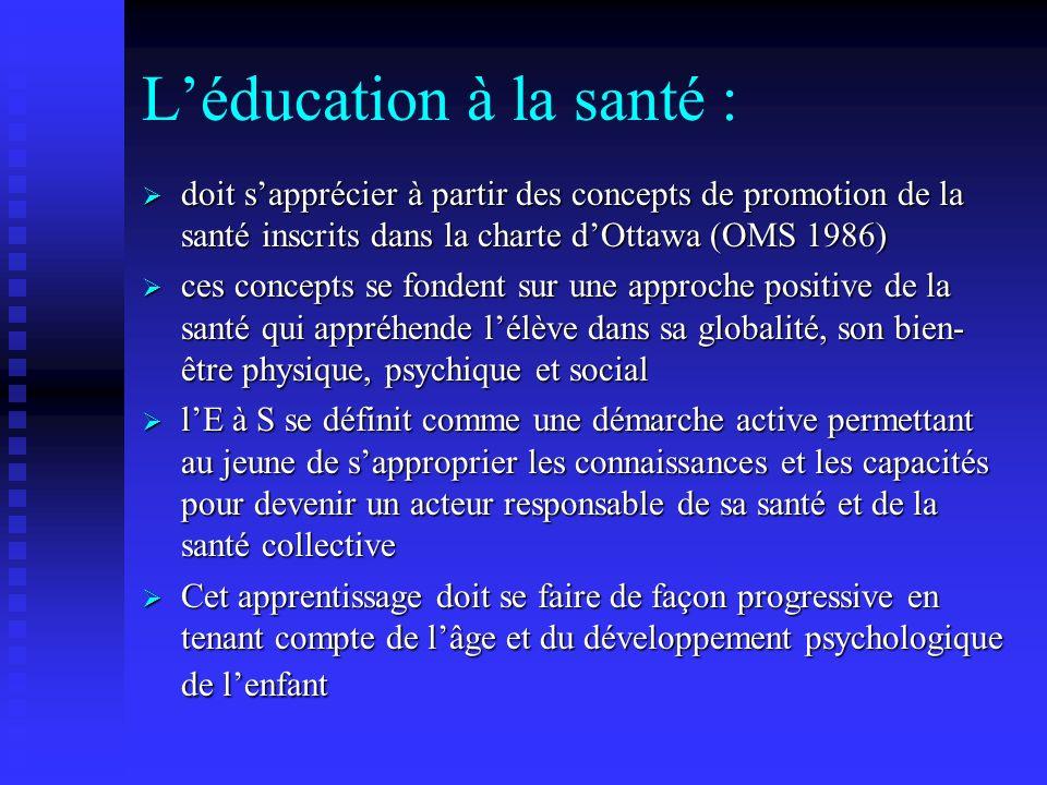 L'éducation à la santé :