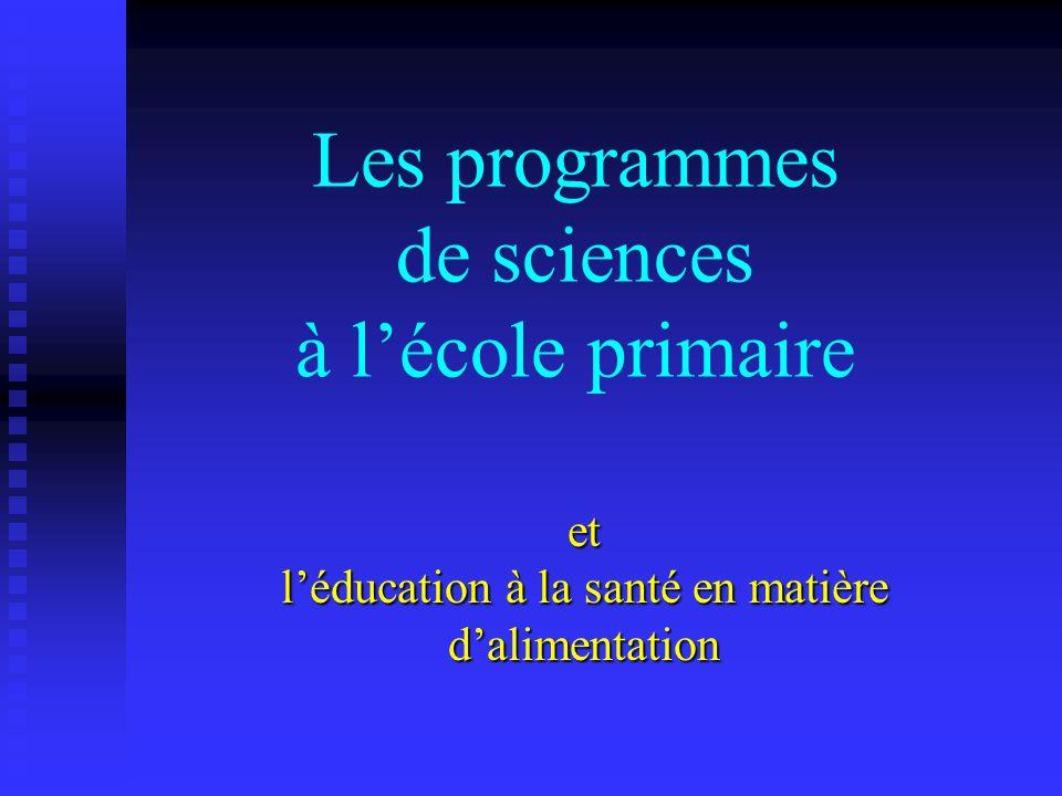 Les programmes de sciences à l'école primaire
