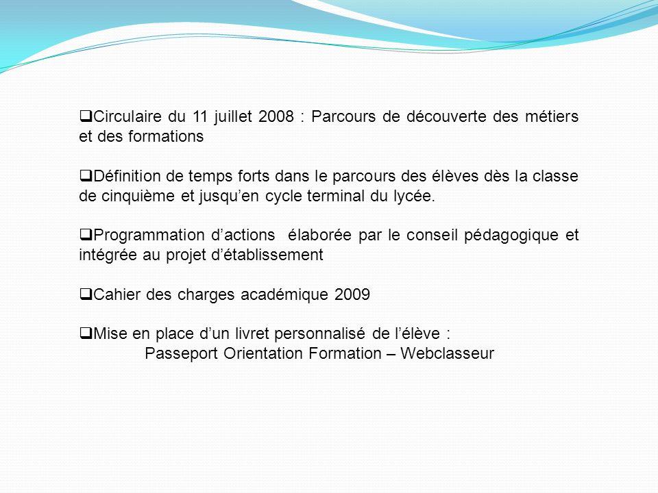 Circulaire du 11 juillet 2008 : Parcours de découverte des métiers et des formations