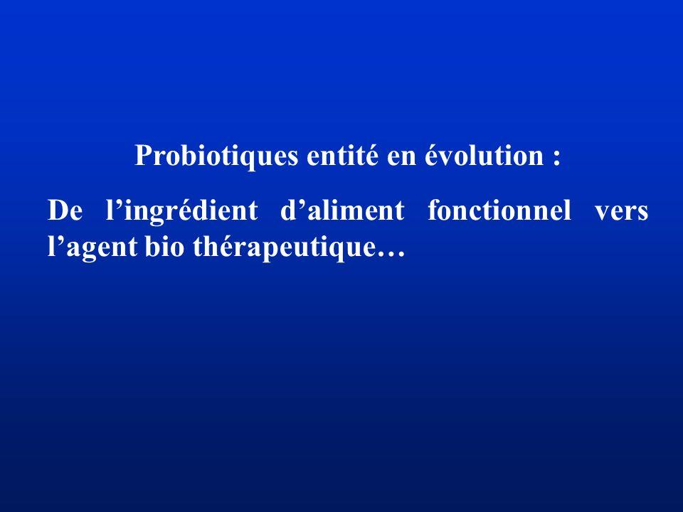 Probiotiques entité en évolution :