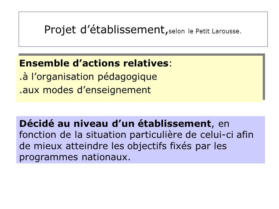 Projet d'établissement,selon le Petit Larousse.