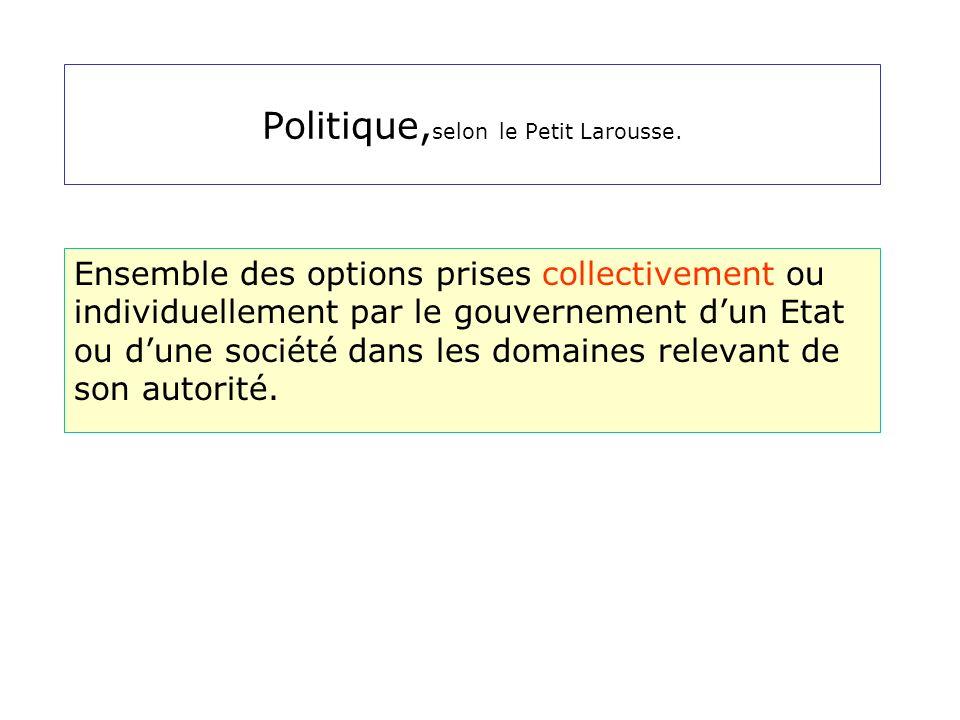 Politique,selon le Petit Larousse.