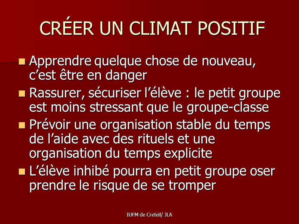 CRÉER UN CLIMAT POSITIF
