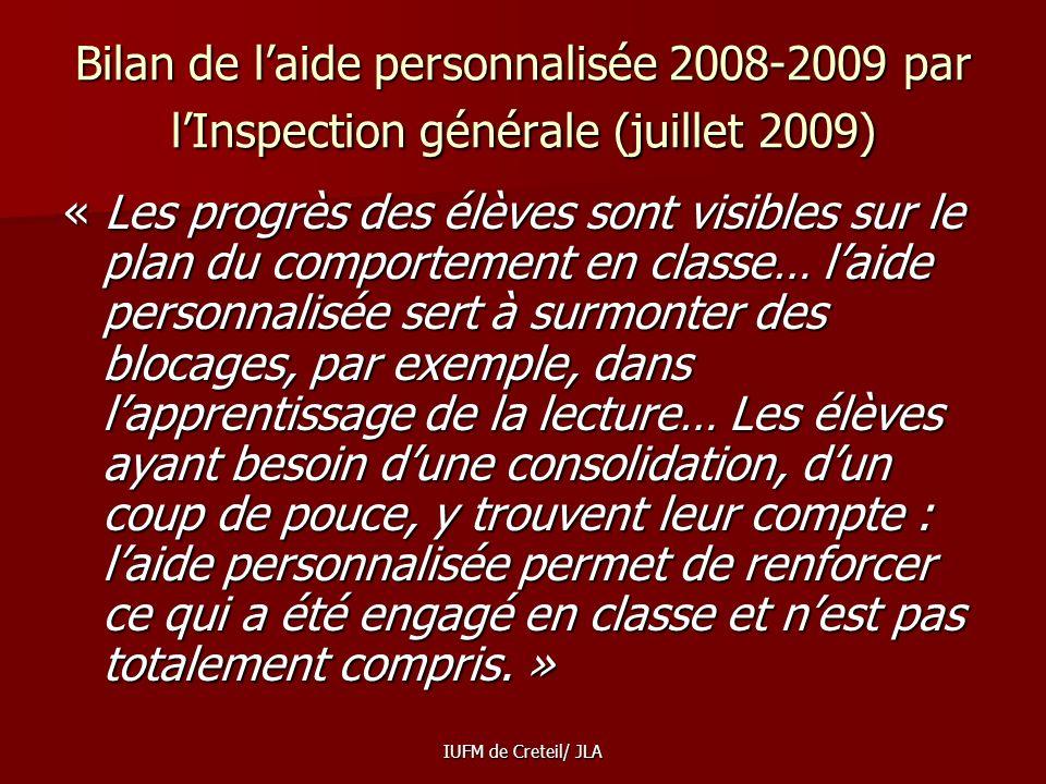 Bilan de l'aide personnalisée 2008-2009 par l'Inspection générale (juillet 2009)
